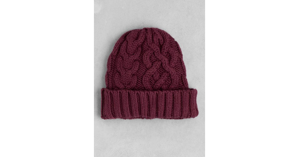 8a82ea80447   Other Stories Wool Cable-Knit Beanie in Red - Lyst