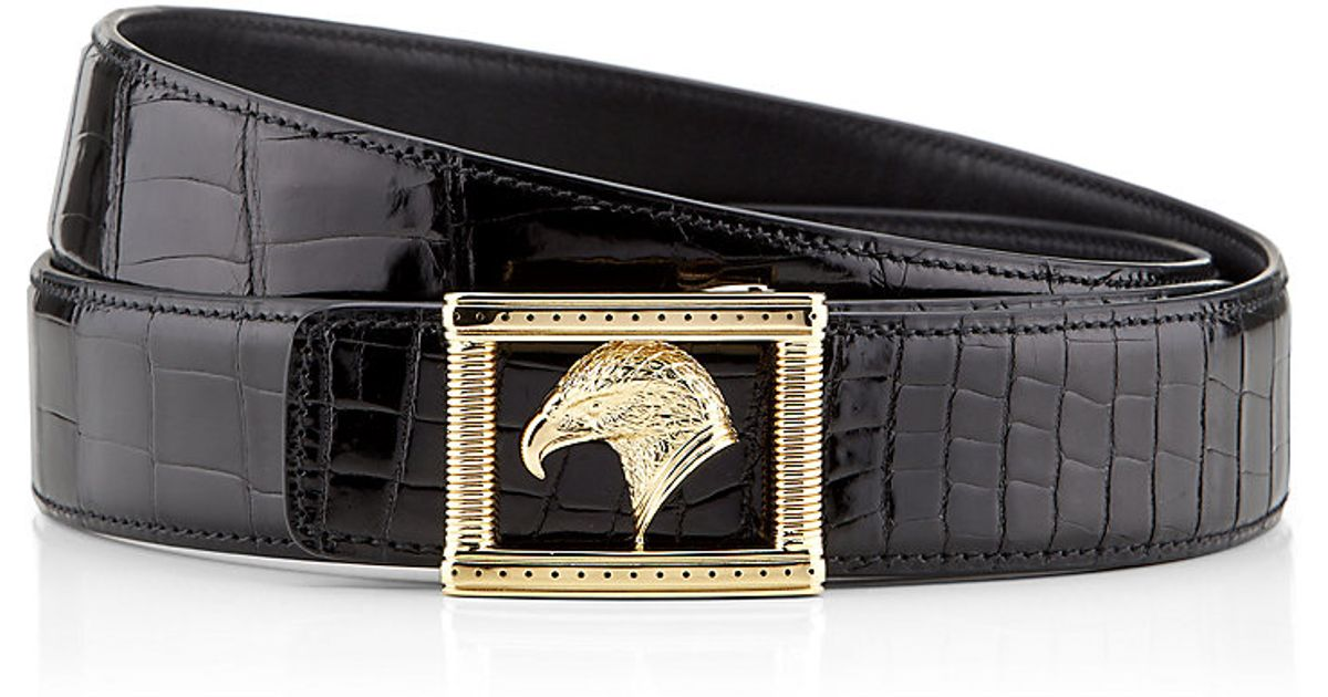 21f15313e2cd0 Stefano Ricci Eagle Buckle Crocodile Leather Belt in Black for Men - Lyst