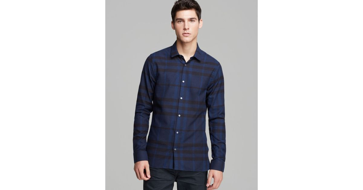 eede5f2e6af1 Lyst - Burberry London Pulbury Check Sport Shirt Slim Fit in Blue for Men