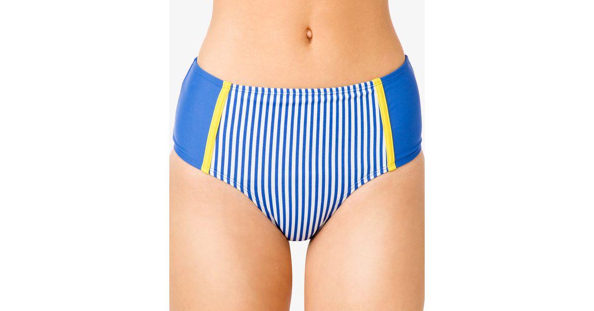 ジョナサンシムカイ レディース ボトムスのみ 水着 Striped High-Waist Twist Bikini Bottom Midnight Combo