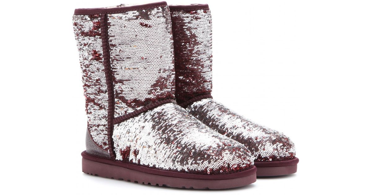 UGG Classic Short Sparkles Sequined Boots in Silver