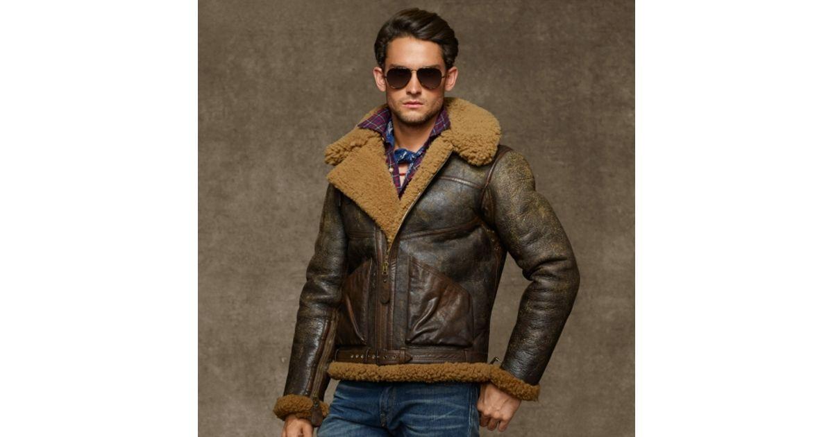 3aaf79aa6 Polo Ralph Lauren Brown Dover Shearling Bomber Jacket for men