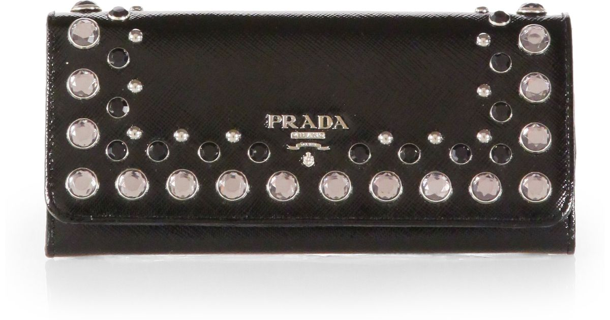 ... where to buy lyst prada saffiano studded flap wallet in black 1f1b7  7d8c8 2754199dde899