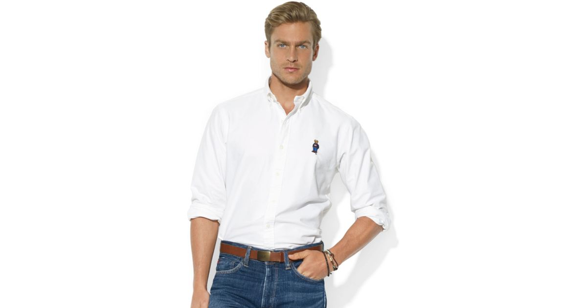 6de85f86 Ralph Lauren Classicfit Longsleeve Cotton Oxford Polo Bear Sport Shirt in  White for Men - Lyst