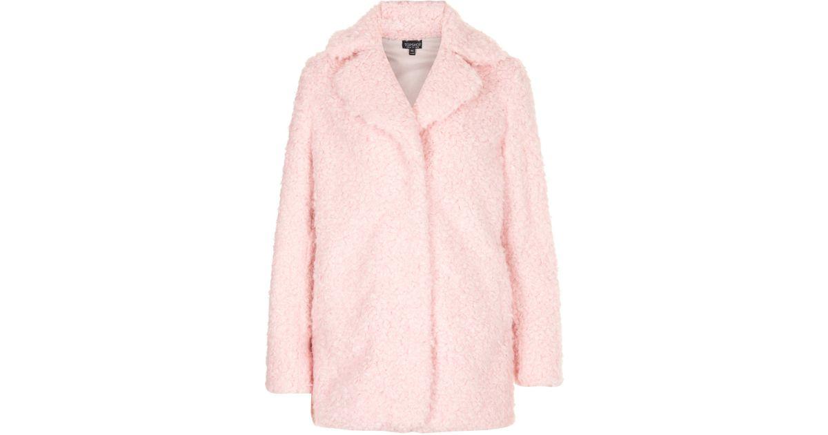 Topshop Teddy Fur Pea Coat in Pink   Lyst
