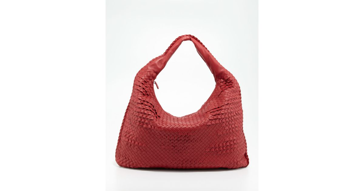 Lyst - Bottega Veneta Maxi Veneta Ruffle Hobo Bag in Red e863c7b502c96