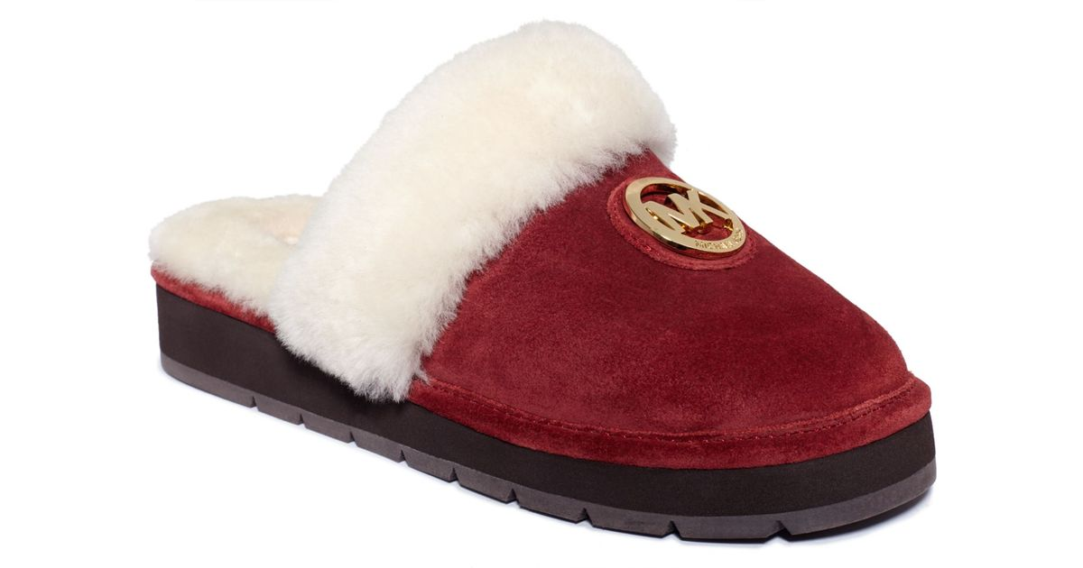 Michael Kors Winter Fur Slippers in Red