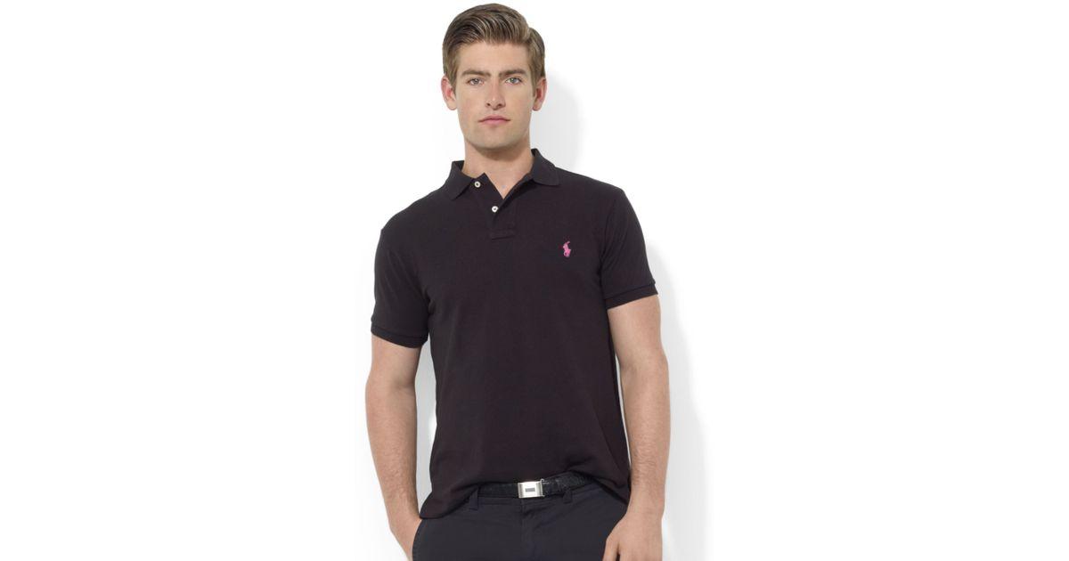 Ralph lauren Pink Pony Custom-fit Short-sleeve Mesh Polo in Black for Men