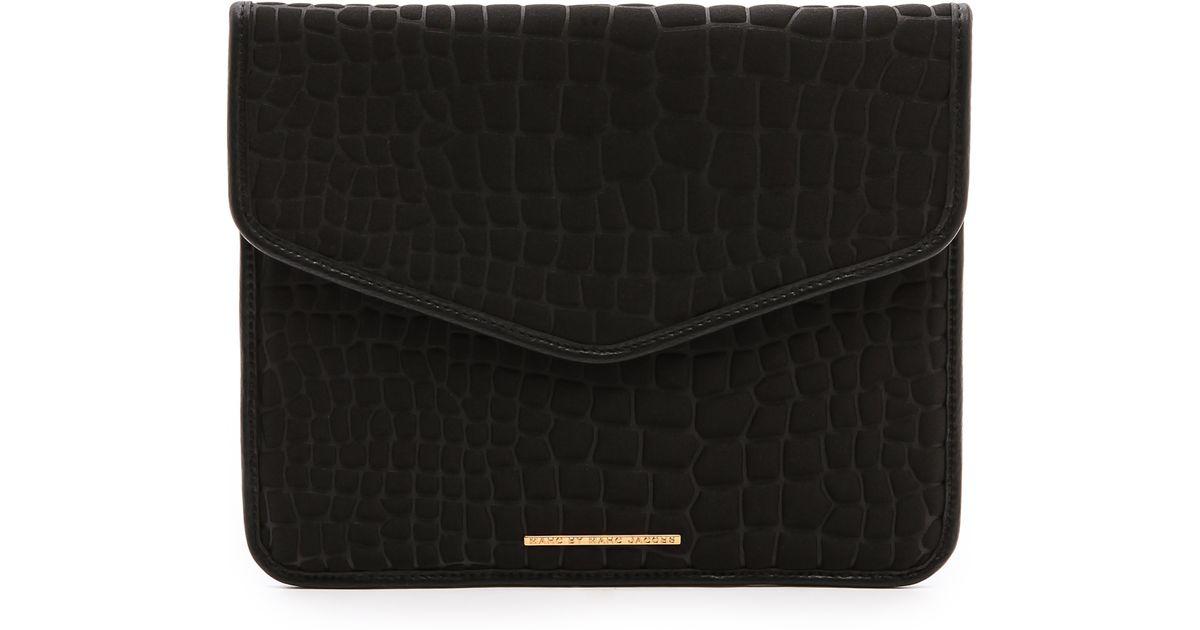 a0ea014005ae Lyst - Marc By Marc Jacobs Neoprene Croc Embossed Tablet Envelope Clutch in  Black