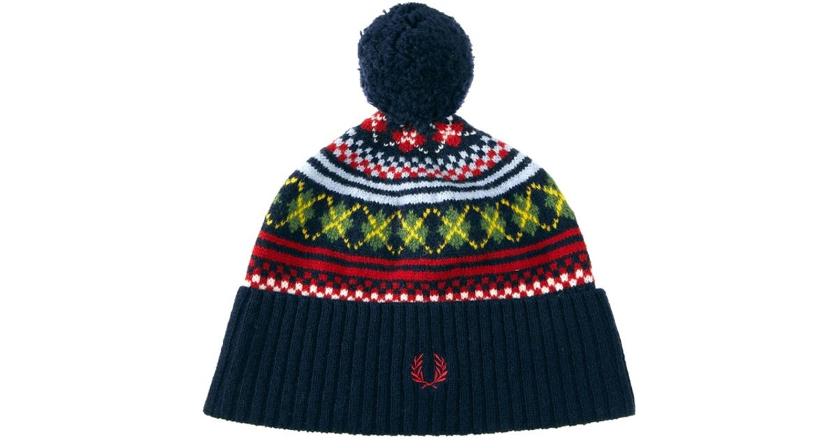 Lyst - Stussy Fred Perry Fairisle Beanie Hat in Blue for Men d8b495495f1
