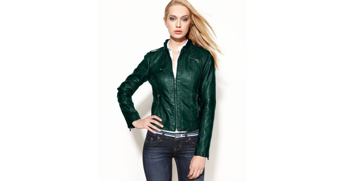 Guess Jacket Faux Leather Moto in Jade (Green) - Lyst