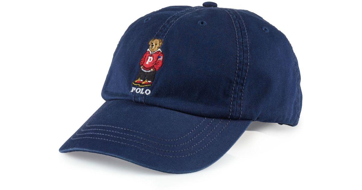 Lyst - Ralph Lauren Chino Polo Bear Baseball Cap in Blue for Men fa6ba3a035f
