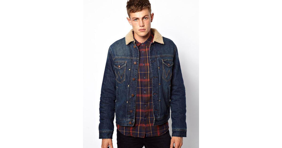 Wrangler denim jacket sherpa lined stonewash