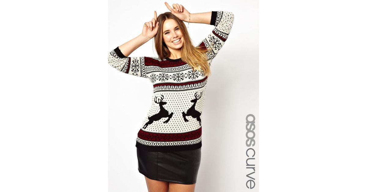 Lyst - Asos Sweater in Reindeer Fairisle
