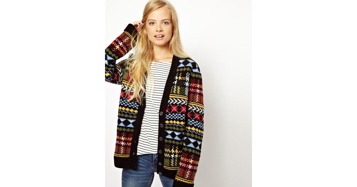 Fred perry British Knitting Fairisle Cardigan | Lyst