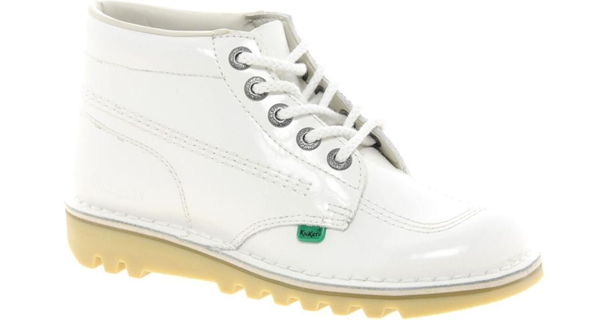 Kickers Kick Hi Patent White Boot - Lyst