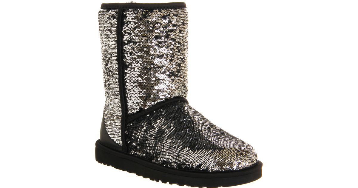 UGG Classic Short Sparkle Sequined Boots in Silver