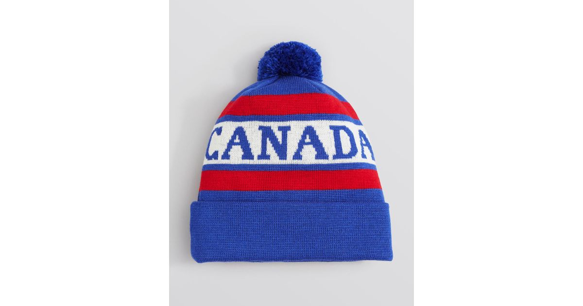 169b49d9a40 Lyst - Canada Goose Logo Pom Pom Hat in Blue for Men