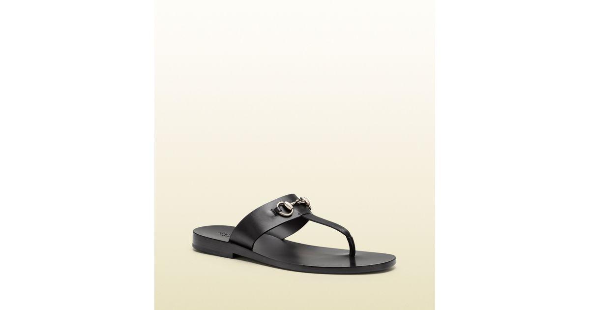 23c1e3b86 Lyst - Gucci Leather Horsebit Thong Sandal in Black