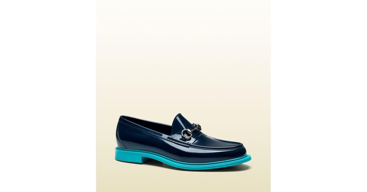 6b8e96665d7 Lyst - Gucci Rubber Horsebit Loafer in Blue for Men