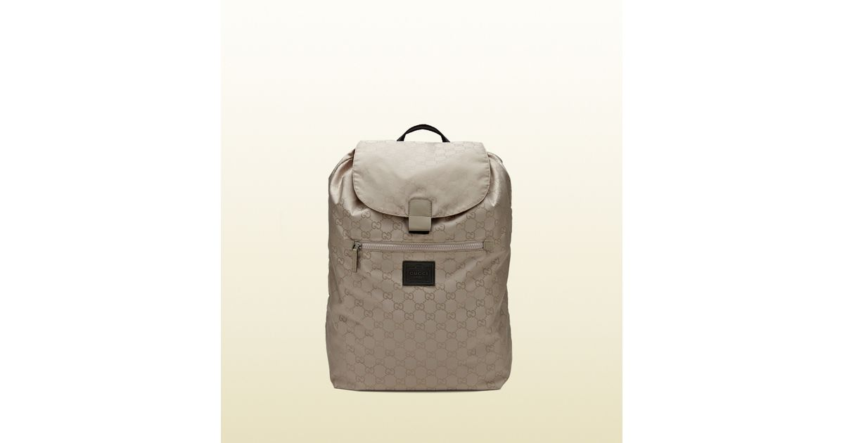 5be3fb446b47 Lyst - Gucci Gg Nylon Backpack From The Viaggio Collection in Gray for Men
