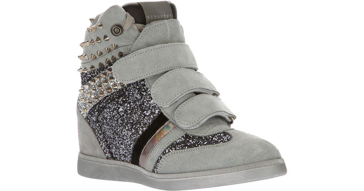 Glitter Wedge Inside Sneakers in Grey