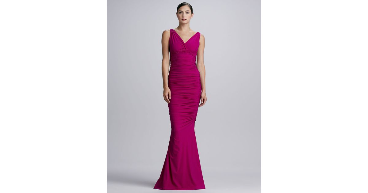 Lyst - La Petite Robe Di Chiara Boni Barbe Ruched Vneck Sleeveless Gown in  Purple 89335f7005db