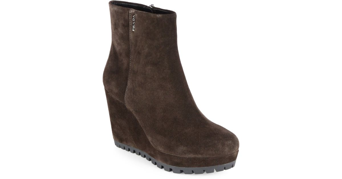 e84541e9993 Prada Brown Suede Wedge Ankle Boots