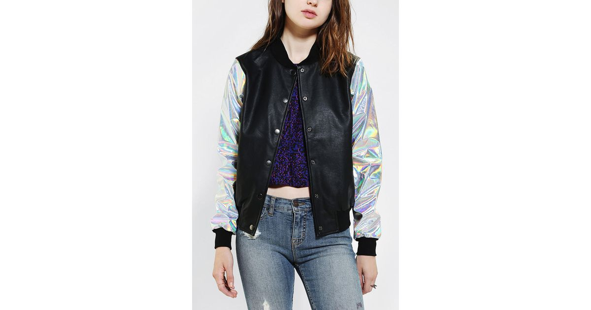 1a2768322 Urban Outfitters Black Cult By Lip Service Hologram Bomber Jacket
