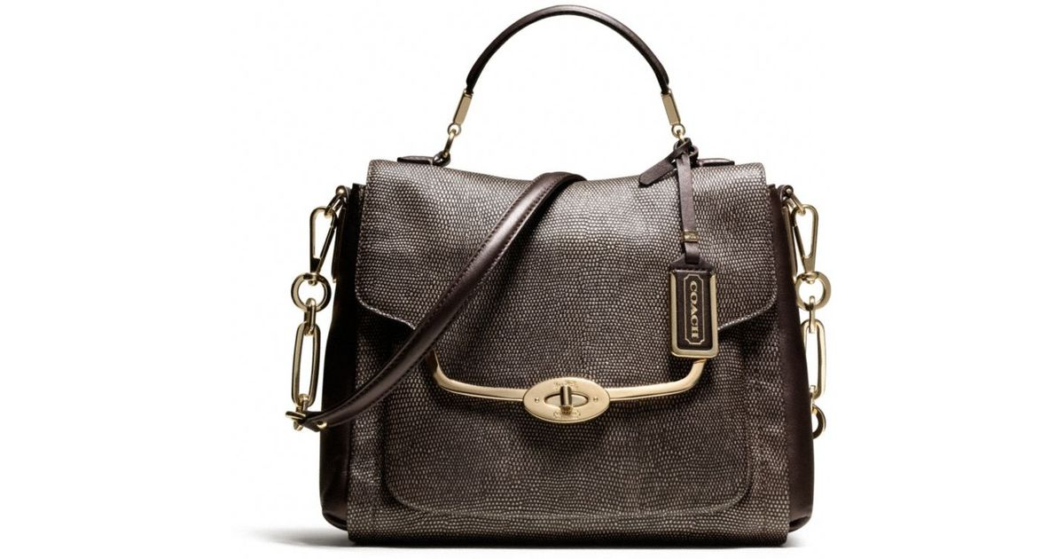 7d39350203 ... 50% off lyst coach madison small sadie flap satchel in glitter lizard  in brown 8bde2