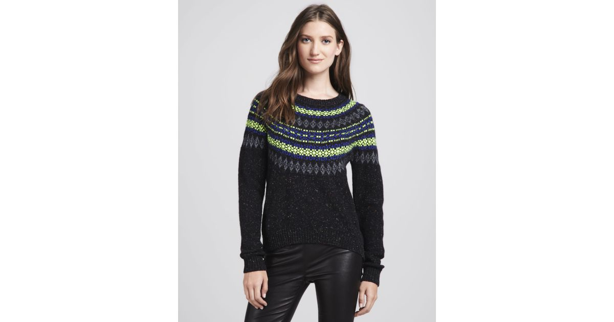 Milly Speckled Fair Isle Sweater in Black | Lyst