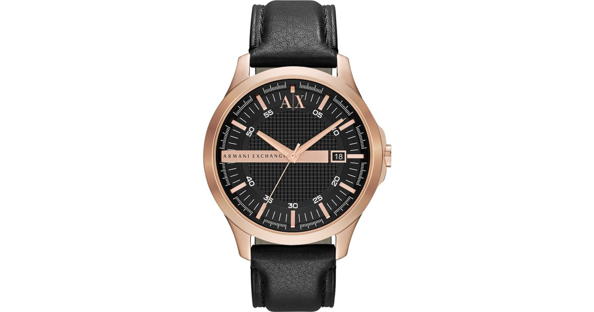 armani exchange ax2129 smart black leather mens in