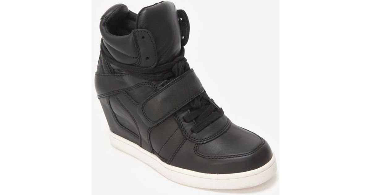 2d809e24559 Lyst - Ash Leather Wedge Sneaker Black in Black