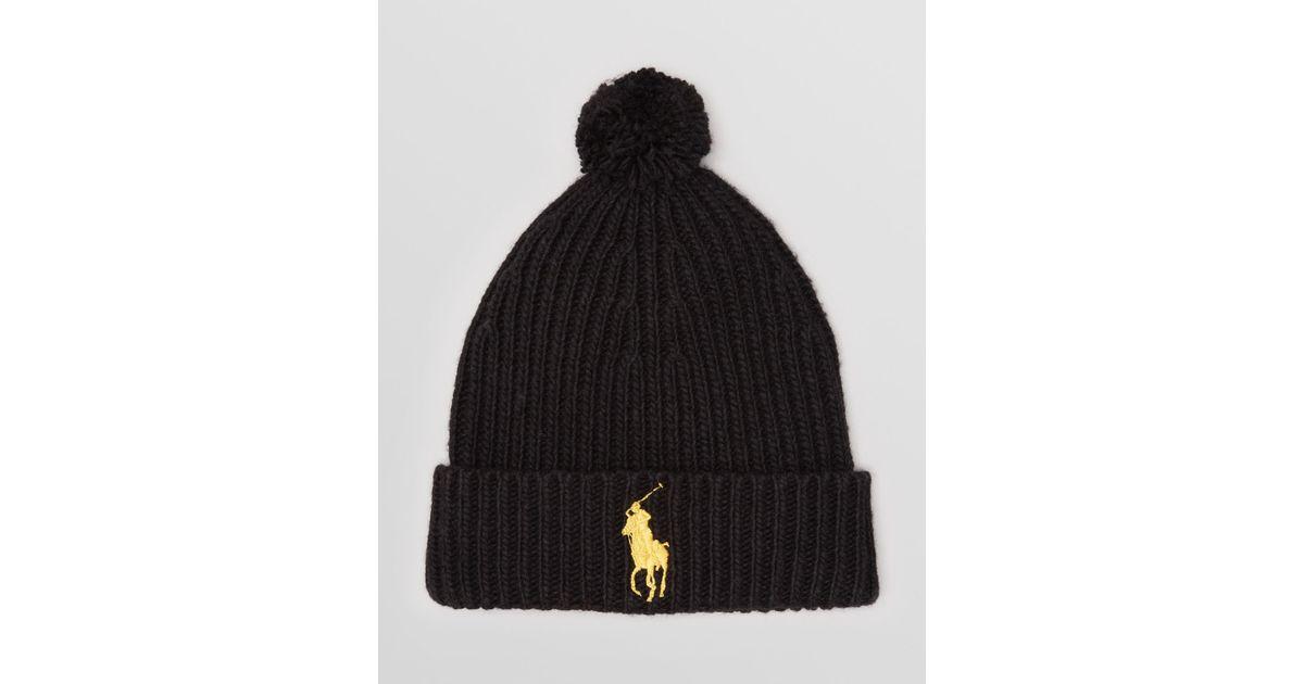 Lyst - Ralph Lauren Polo Big Pony Rib Cuff Pom Pom Hat in Black for Men ffdd7db1946