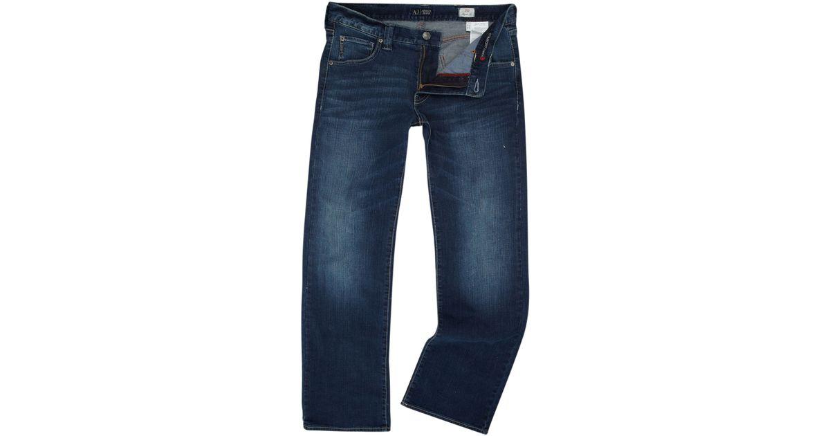 armani jeans j05 boot cut light wash jeans in blue for men. Black Bedroom Furniture Sets. Home Design Ideas