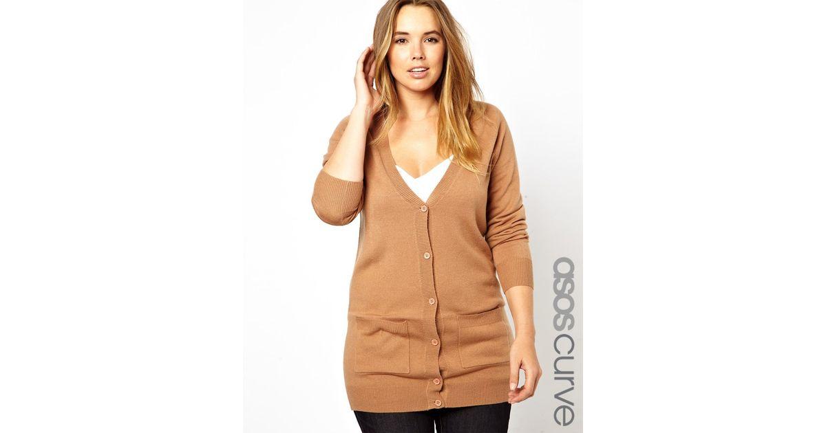 Asos Longline Cardigan in Fine Knit in Brown | Lyst
