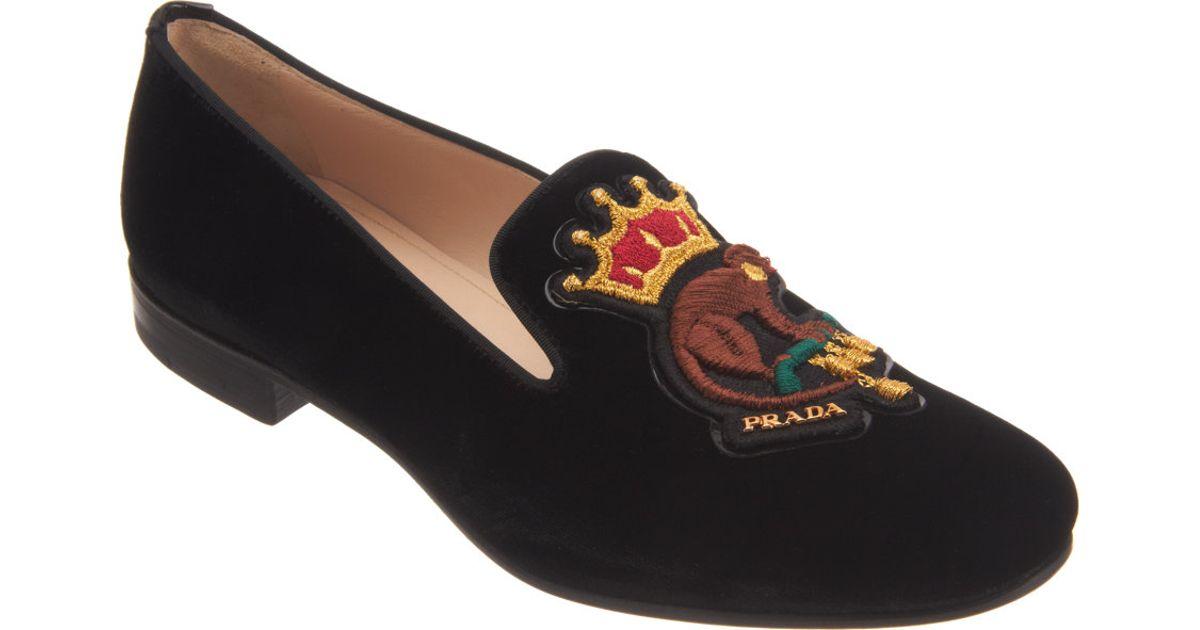 b47deea42619 ... germany lyst prada embroidered monkey loafer in black ed018 cd008
