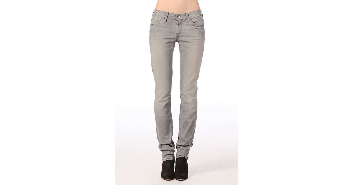 7 for all mankind jeans swmk550pv cristen in gray lyst. Black Bedroom Furniture Sets. Home Design Ideas