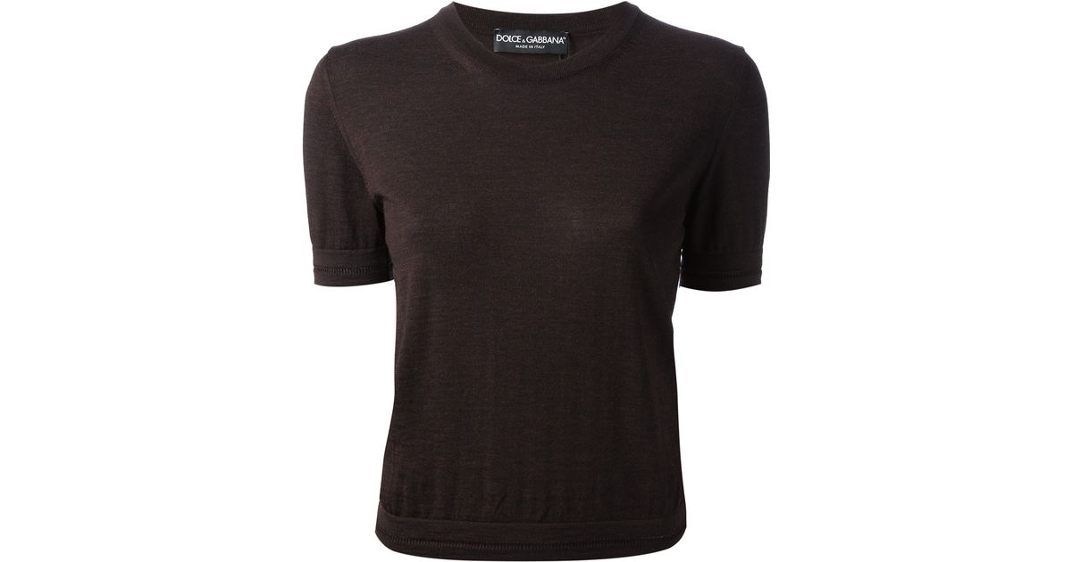 Lyst - Dolce   Gabbana Short Sleeve Knit Top in Brown 372901956fef