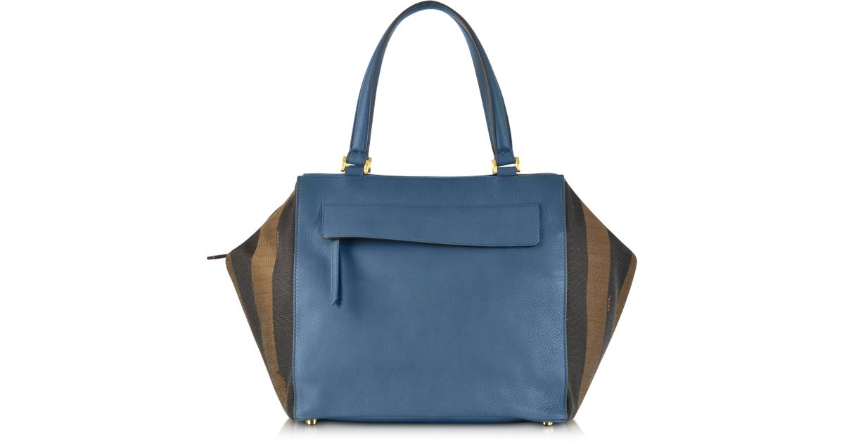 55ed7036a9 Lyst - Fendi Pequin-Striped Large Boston Bag in Blue
