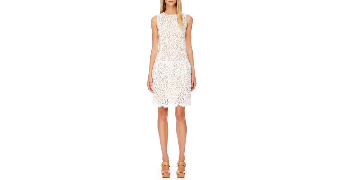 a698e28bbc8 Michael Kors Dropwaist Lace Dress in White - Lyst