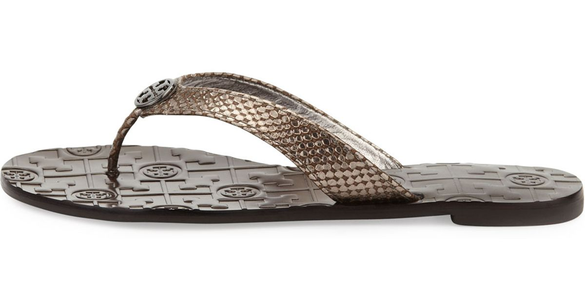 21dd6a14edfe42 Lyst - Tory Burch Thora Leather Snake-print Thong Sandal in Gray