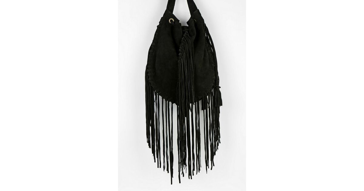 f9c82dc96c Lyst - Ecote Suede Fringe Shoulder Bag in Black