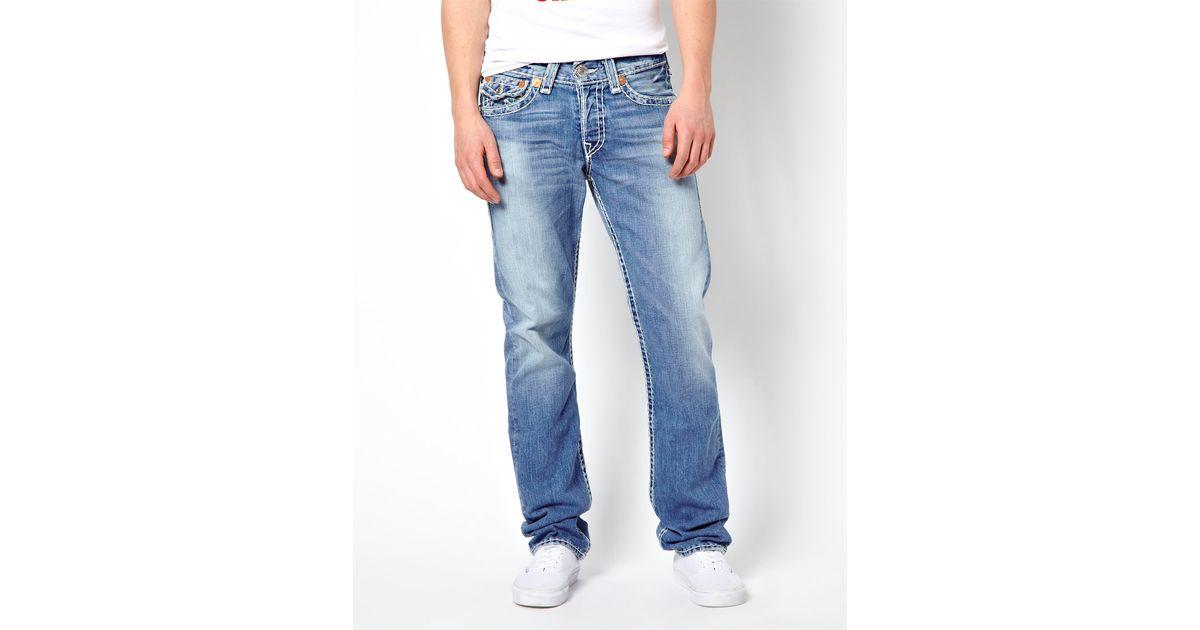 Lyst - ASOS True Religion Jeans Jack Super T Regular Tapered Fit Flap  Pocket Mid Drifter Wash in Blue for Men 9775d3d12721
