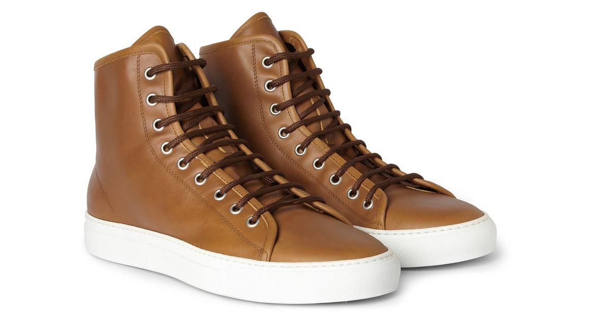 28f87378a252a Lyst - Common Projects Tournament Leather High Top Sneakers in Brown for Men