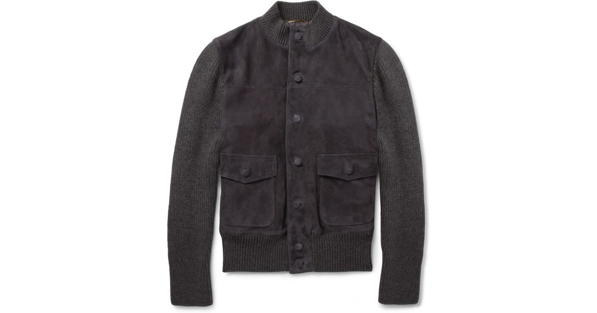 a20e17dc8 Dolce & Gabbana Gray Suede And Knitted Wool-Blend Bomber Jacket for men
