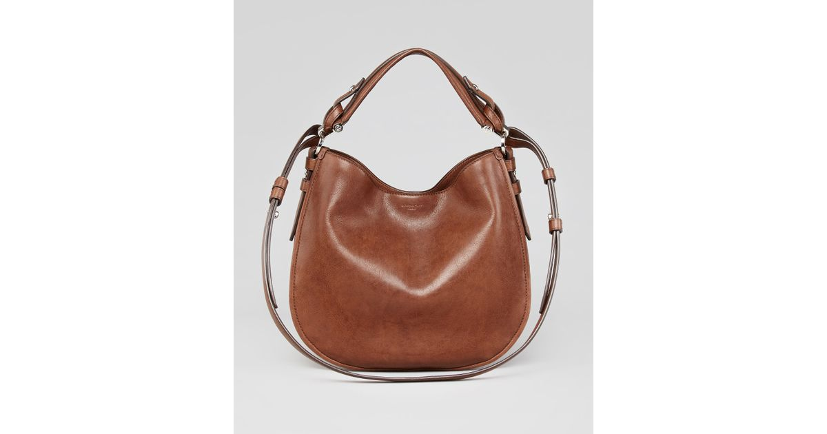 Lyst - Givenchy Obsedia Small Leather Hobo Bag in Brown d5d08bbe5c