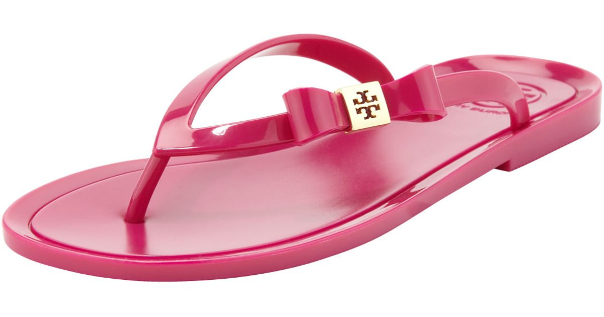 7e9f7b1d455e Lyst - Tory Burch Michaela Bow Jelly Thong Sandal Fuchsia in Pink