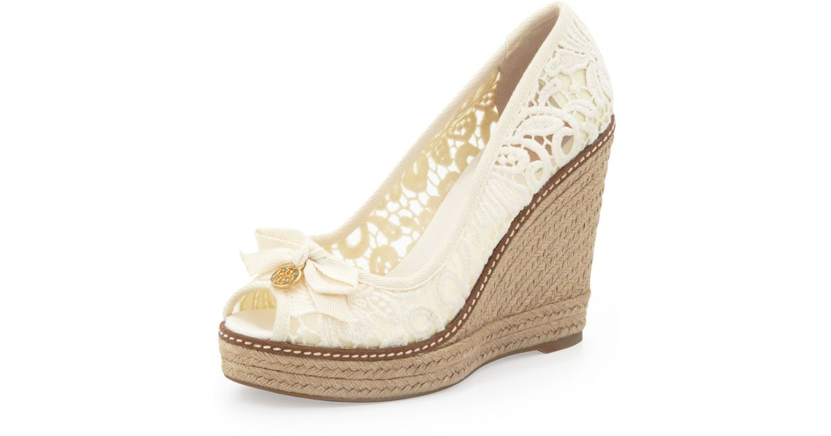 dde1ce85d34 Tory Burch Natural Jackie Lace Espadrille Wedge White