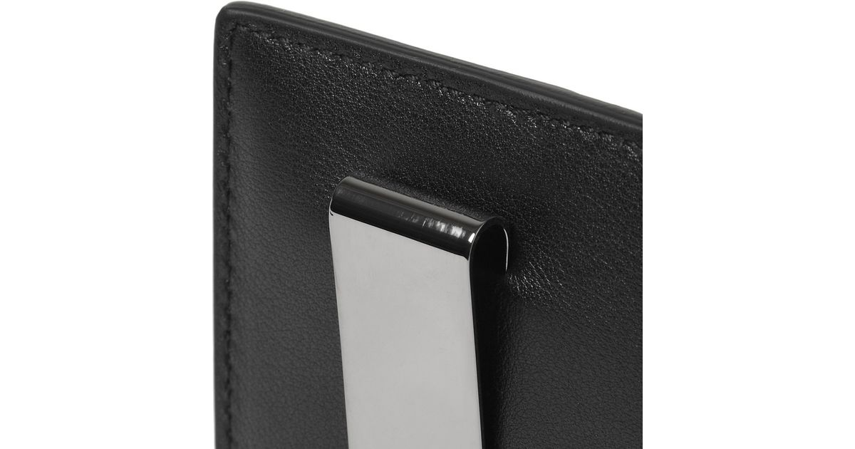 lyst gucci embossed leather card holder and money clip in black for men - Money Clip And Card Holder